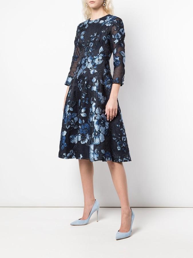 Thumbnail for your product : Lela Rose Floral Pattern Midi Dress