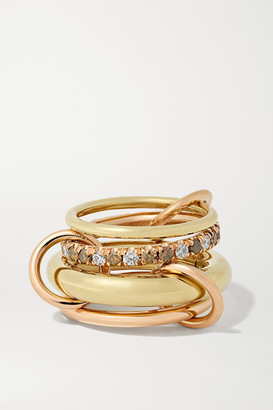 Spinelli Kilcollin Luna Set Of Four 18-karat Yellow And Rose Gold And Diamond Rings - 6