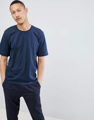 Selected Drop Shoulder T-Shirt In Heavy Cotton-Navy