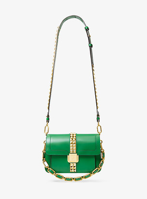 Michael Kors Crawford Studded Leather Crossbody Bag - Kelly Green