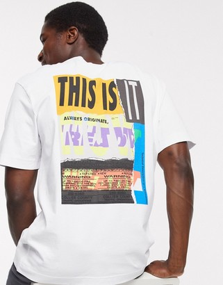 Selected boxy t-shirt with graphic back print in white