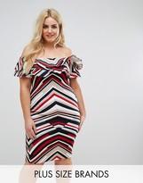AX Paris Plus Stripe Bardot Dress