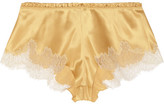 Carine Gilson Metallic Embroidered Lace-trimmed Stretch-silk Satin Shorts - Gold