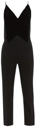 Givenchy Crystal-embellished Velvet And Wool-crepe Jumpsuit - Womens - Black