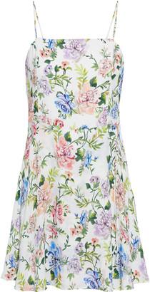 Alice + Olivia Trixie Wrap-effect Floral-print Crepe De Chine Mini Dress