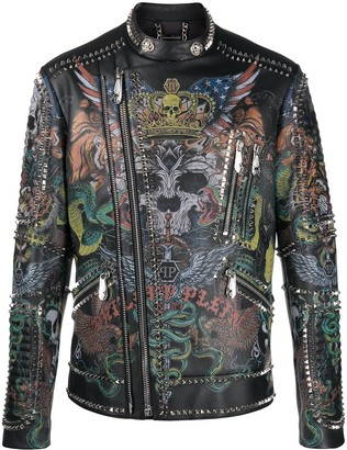 Philipp Plein Tattoo biker jacket
