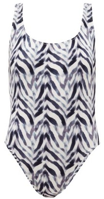 Norma Kamali Super Zebra-print Scoop-back Swimsuit - Blue Print