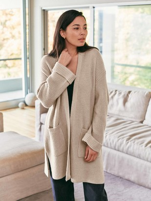 White + Warren Luxe Cashmere Ribbed Open Cardigan