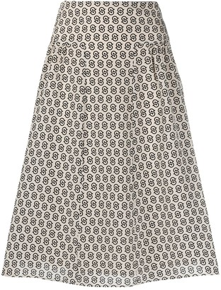 Salvatore Ferragamo Gancini S-print knee-length skirt