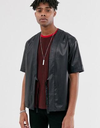ASOS DESIGN faux leather boxy fit kimono