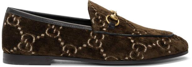Gucci Brown Velvet GG New Jordaan Loafers