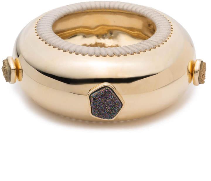 Alexis Bittar Leather Laced Druzy Studded Bangle Bracelet