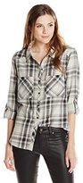 Michael Stars Women's Highline Plaid Long Sleeve Button Up High Low with Shirttail