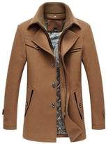Oncefirst Men's Solid Color Stand Collar Wool Trench Coat 2XL