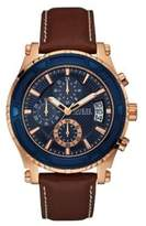 GUESS Pinnacle Chronograph Stainless Steel and Leather-Strap Watch