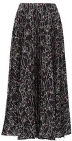 Valentino Pleated Floral-print Silk-crepe Midi Skirt - Womens - Black Multi