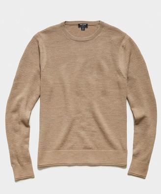 Todd Snyder Italian Merino Waffle Crew Sweater in Tan