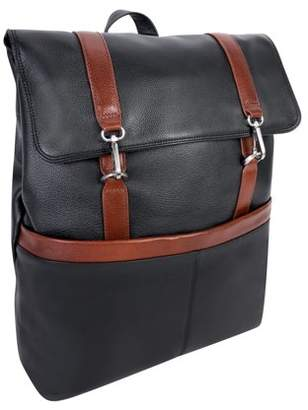 """McKlein Usa U Series, ELEMENT , Pebble Grain Calfskin Leather 17"""" Leather, Two-Tone, Flap-Over, Laptop & Tablet Backpack, Black (18472)"""