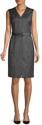 HUGO BOSS Decapolis Patterned Stretch Wool V-neck Shift Dress