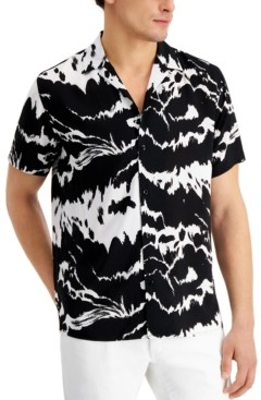 INC International Concepts Inc Men's Big & Tall Abstract-Print Camp Shirt, Created for Macy's