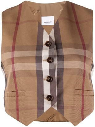 Burberry Cropped Check Waistcoat