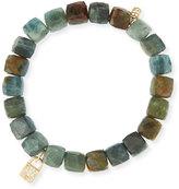 Sydney Evan Jewelry 8mm Green Silverite Cube Beaded Bracelet w/14K Gold Diamond Rondelle