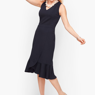Talbots Ponte Flounce Hem Wrap Dress