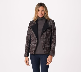 Dennis Basso Tweed Motorcycle Jacket with Side Panels
