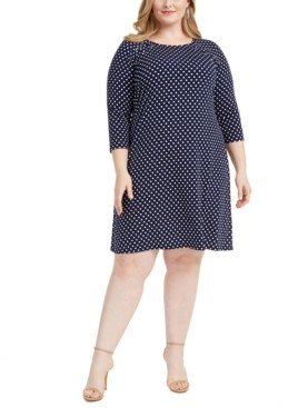 MSK Plus Size Polka Dot Grommet Dress