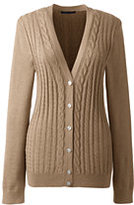 Classic Women's Cotton V-neck Cable Cardigan Sweater-Vicuna Heather