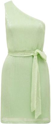Forever New Jenna One-Shoulder Sequin Mini Dress - Soft Pistachio - 10