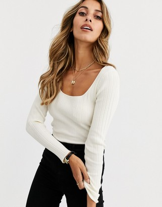 Asos Design DESIGN scoop neck long sleeve jumper in fine knit rib-Cream