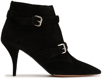 Tabitha Simmons Buckled Suede Ankle Boots