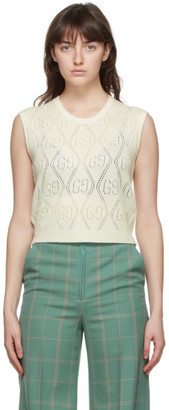 Gucci Off-White GG Perforated Crop Vest