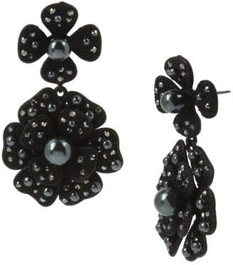 Miriam Haskell Faux Pearl Crystal Flower Double Drop Earrings