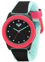Roxy Women's RX/1017BKPK THE KAI Light Blue and Black Silicone Strap Watch