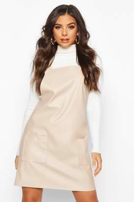boohoo Faux Leather Pinafore Dress