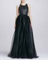 Alice + Olivia Carter Leather-Top T-Back Gown
