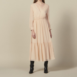 Sandro Long pleated dress with long sleeves