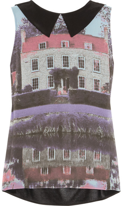 Moschino Cheap & Chic Moschino Cheap and Chic House-print silk and cotton-mesh top