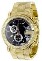 Gucci Ya101334 14 Ct Full Diamond Custom Gold PVD 101 G Real 44 mm Mens Watch
