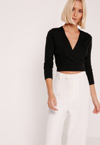 Missguided Black Long Sleeve Wrap Ribbed Cropped Sweater