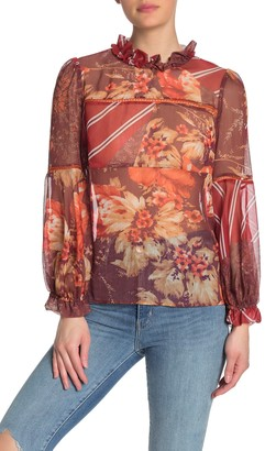 Badgley Mischka Patterned Long Sleeve Ruffle Blouse