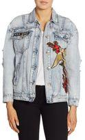 True Religion Embroidered Distressed Denim Jacket