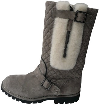 Chanel Grey Leather Boots