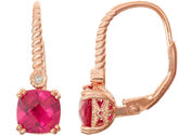 FINE JEWELRY Lab-Created Ruby & Diamond Accent 14K Rose Gold Over Silver Leverback Earrings