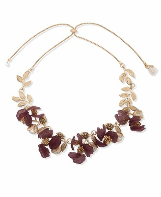 lonna & lilly Flower Frontal Necklace Gold and Burgundy 28 Inch