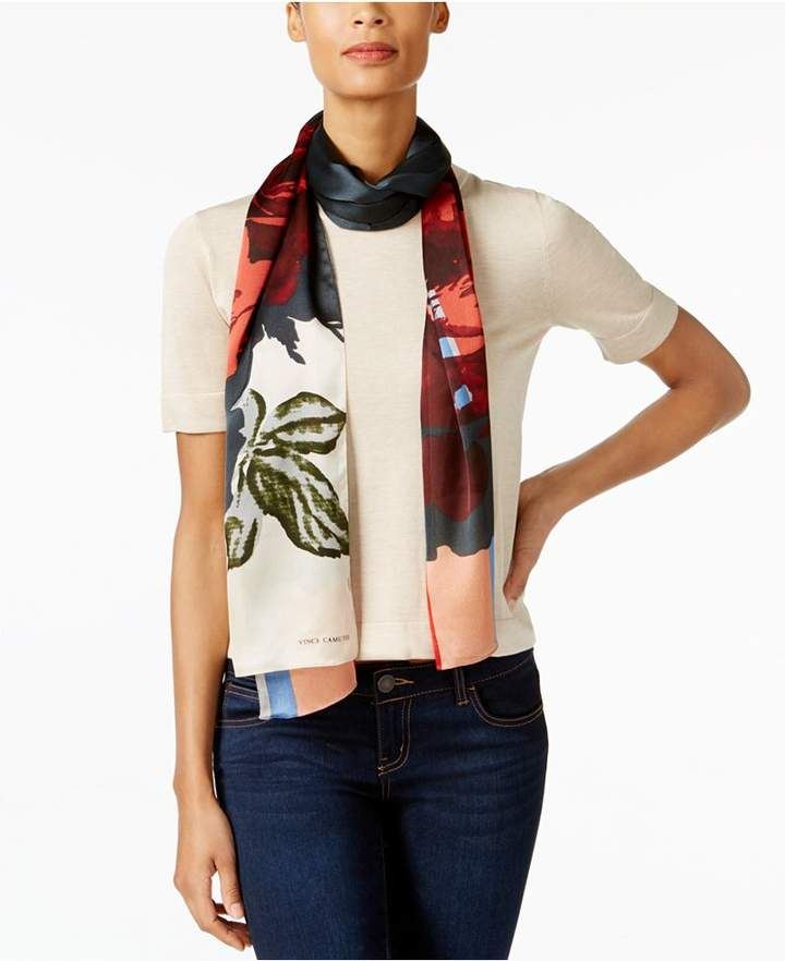 Vince Camuto Overgrown Rose Striped Oblong Scarf
