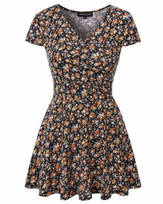 MINTLIMIT Women's Top V Neck Peplum T-Shirt Front Criss-Cross Wrap Cap Sleeve Tees(Floral Black Size XL)
