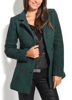 Green Waffle Wool-Blend Peacoat